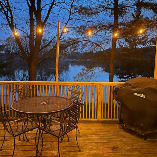 Patio view of the lake.