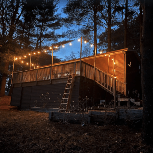 Lilikoi Lake House at night.